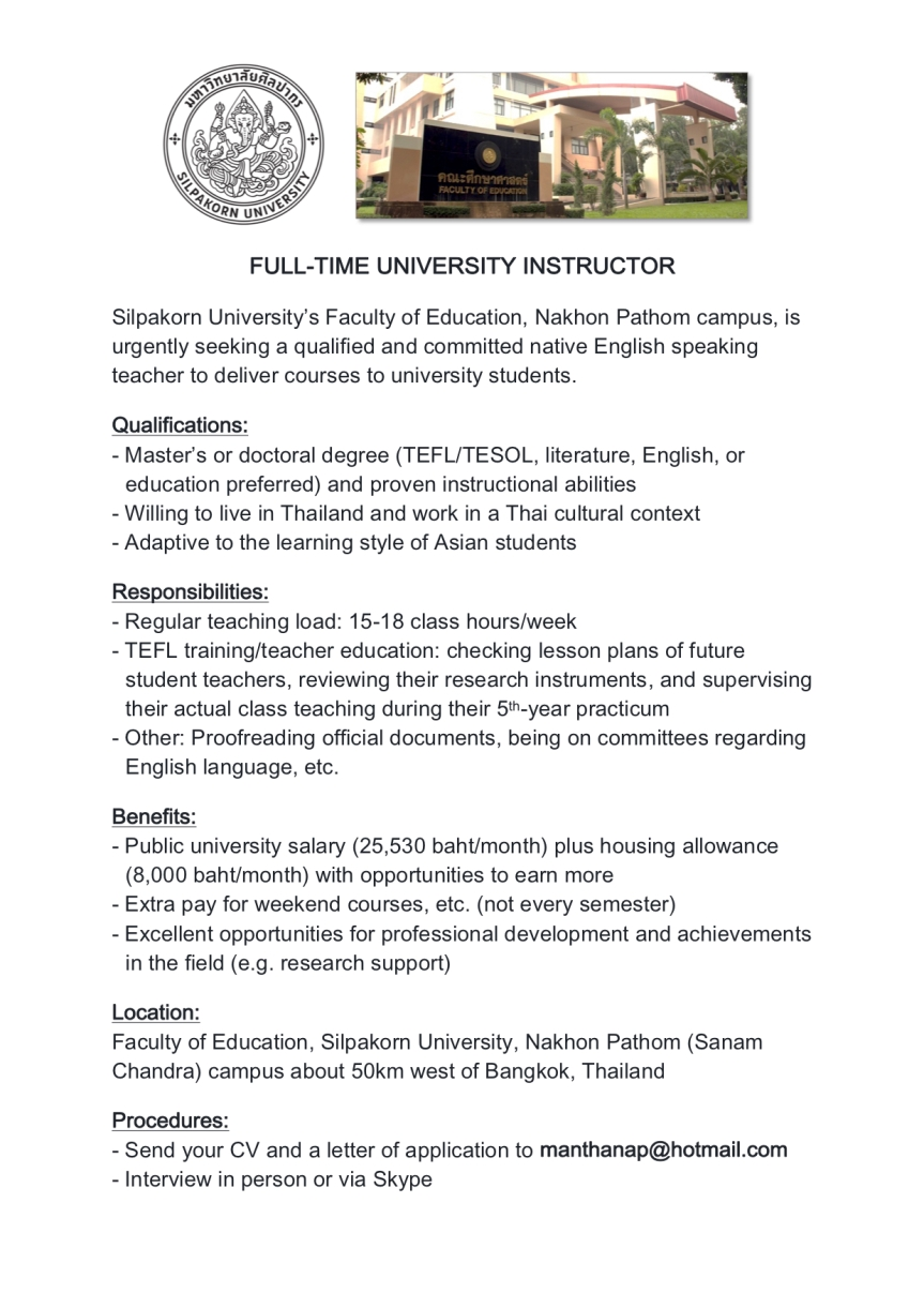 Silpakorn University-Instructor Wanted
